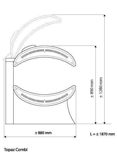 Hapro Topaz 24 combi laydown home sunbed Dimensions